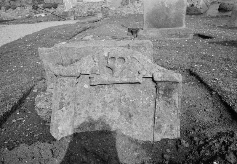 View of east face of gravestone, no name and no date, in the churchyard of St Monance Parish Church.