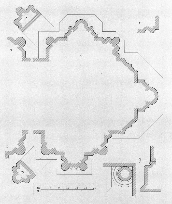 Iona, Iona Nunnery. Photographic copy of drawing showing profile mouldings of chancel, N chapel and pier at NE angle of nave.