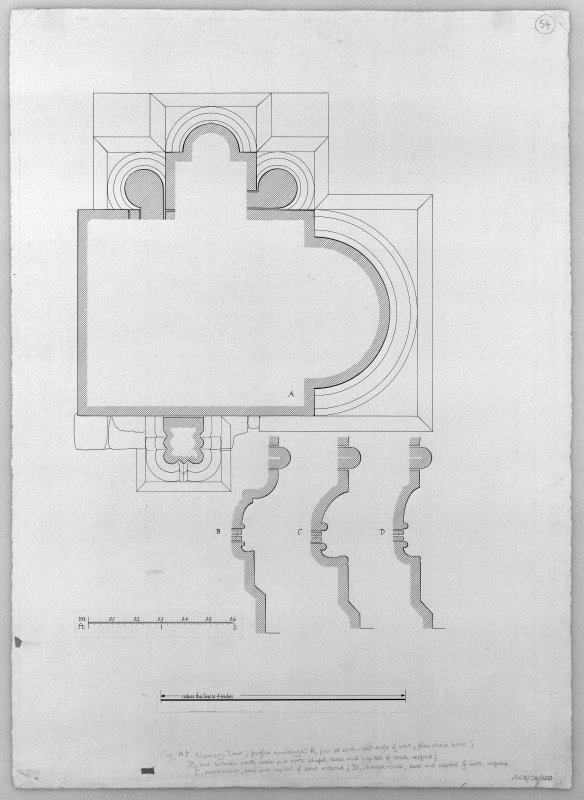 Iona, Iona Nunnery. Photographic copy of drawing showing profile mouldings of chancel, North chapel and pier at North-East angle of nave.