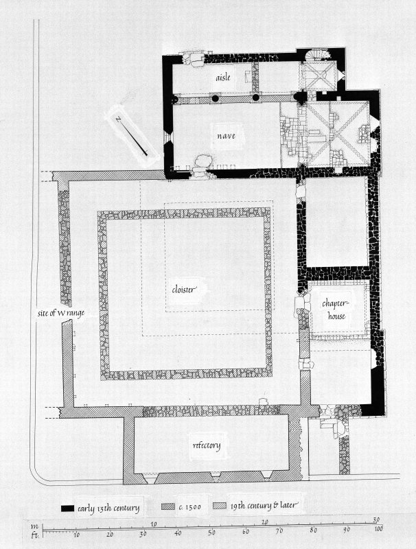 Iona, Iona Nunnery. Photographic copy of drawing showing ground plan.