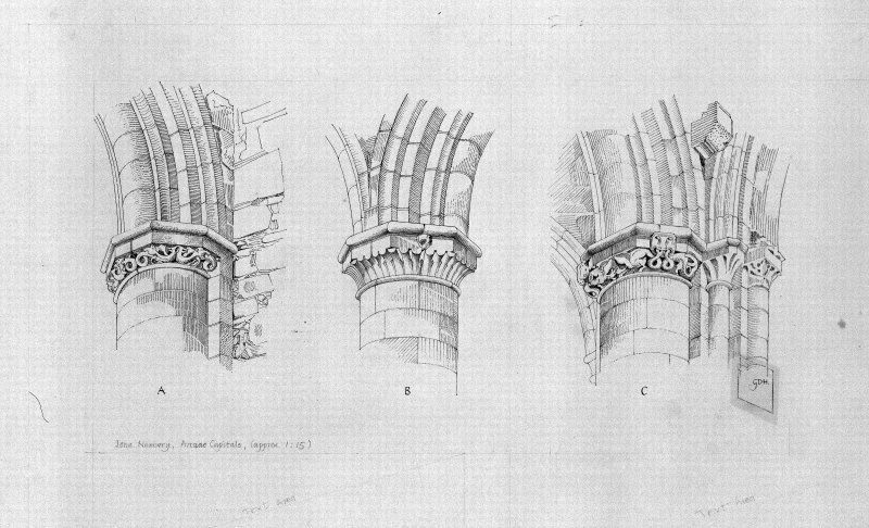 Iona, Iona Nunnery. Photographic copy of drawing showing capitals of nave arcade.