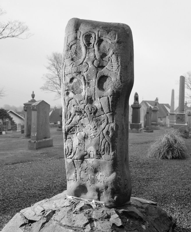 View of rear of cross slab at Corsewall House, moved from Kilmorie Chapel.