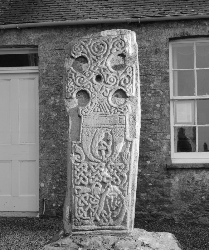 View of face of cross slab at Corsewall House, moved from Kilmorie Chapel.