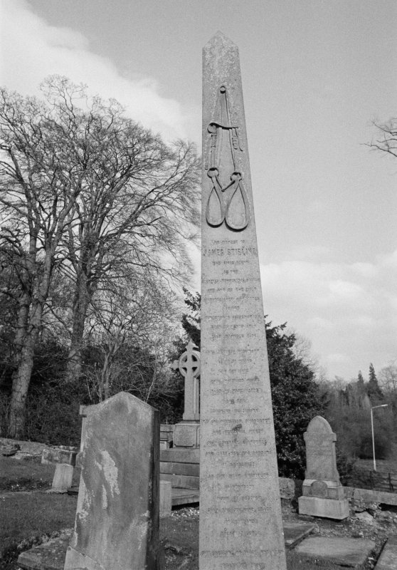 View of obelisk commemorating James Stirling, 1855, in the churchyard of New Kilkpatrick Parish Church.