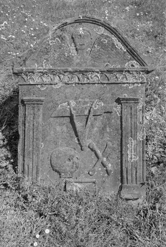 View of gravestone for Robert Robertson who died 1779, in the churchyard of Comrie Old Parish Church.