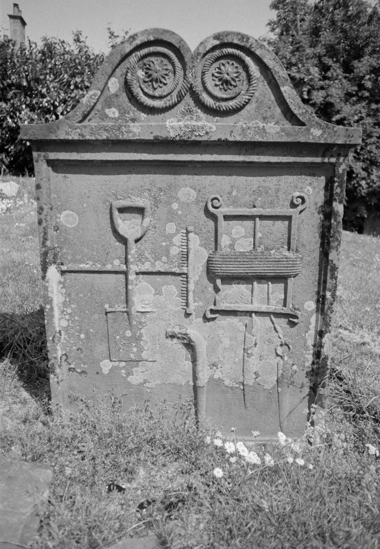 View of gravestone for Peter Graham who died 1808, in the churchyard of Comrie Old Parish Church.