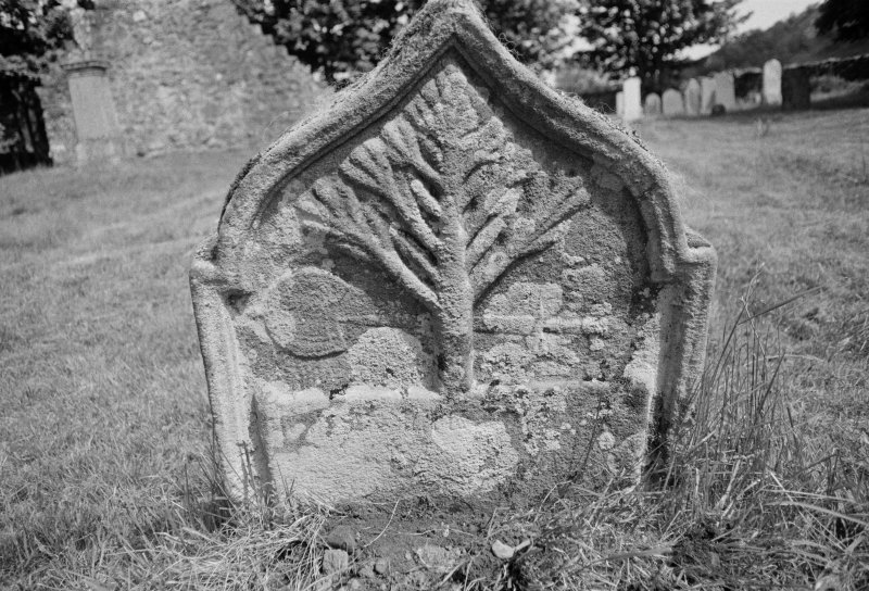 View of east face of Catherine Dewar and Margaret McKeand's  gravestone, 1729, in the burial ground of St Fillan's Chapel.