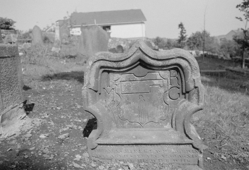 View of gravestone for Thomas Birrel dated 1727, with initials 'I M' and 'R G', in the churchyard of Auchterderran Parish Church.