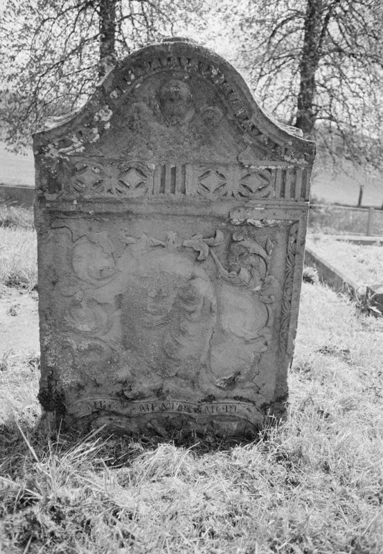 View of gravestone for Margaret Berander dated 1785, in the churchyard of Old Blair, St Bride's Kirk.
