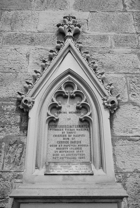 View of gravestone for Princess Titaua Marama who died 1898, in the churchyard of St Adrian's Parish Church, Anstruther Easter.
