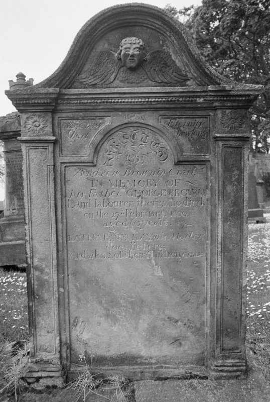 View of gravestone for George Brown who died 1800, in the churchyard of Crail Parish Church