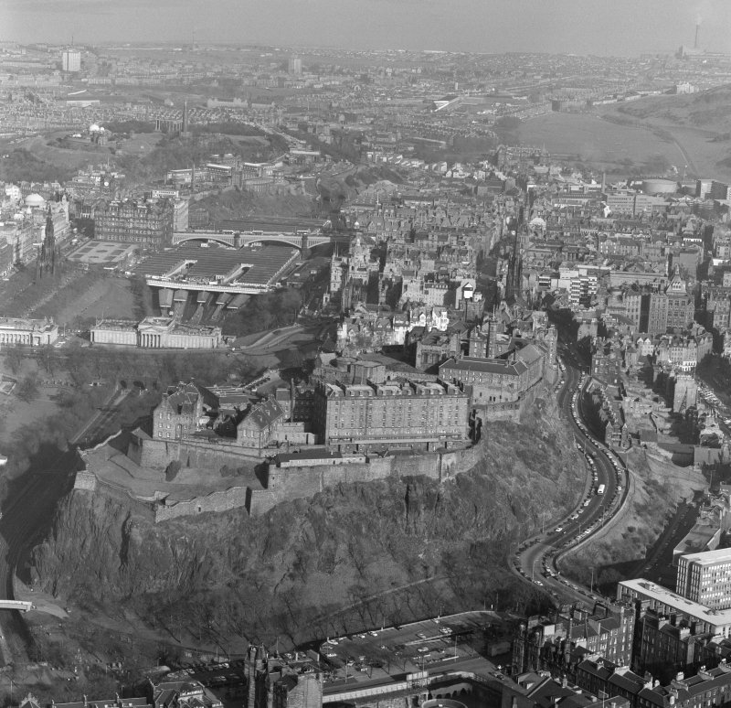 Oblique aerial view centred on Edinburgh Castle.