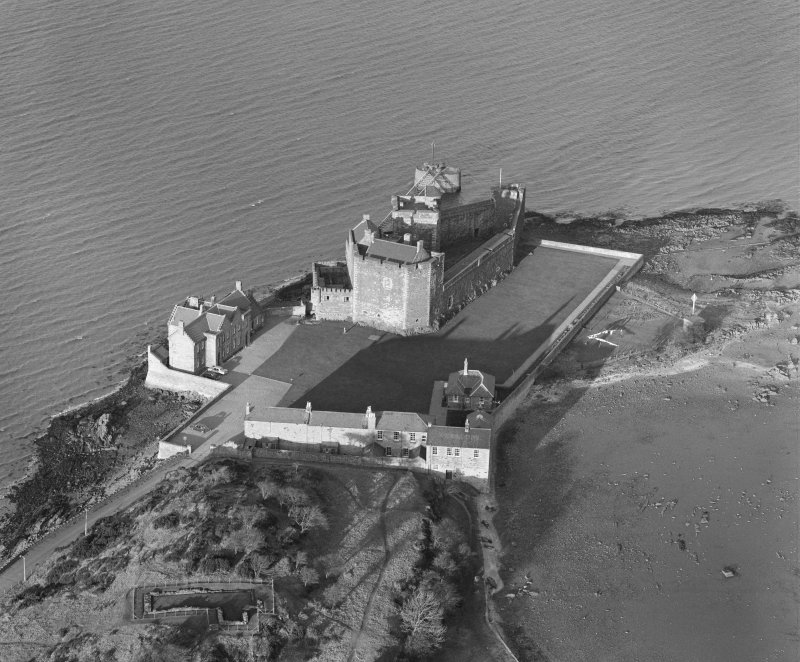 Oblique aerial view of Blackness Castle.
