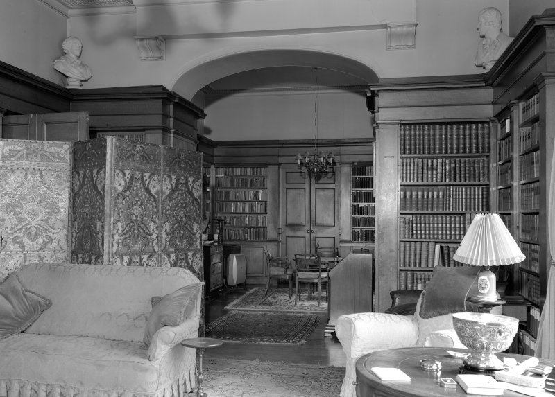 Interior view of Aldbar Castle showing library.