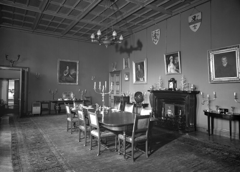 Interior view of Aldbar Castle showing dining room.