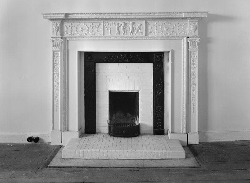 Interior view of Aldbar Castle showing detail of fireplace.