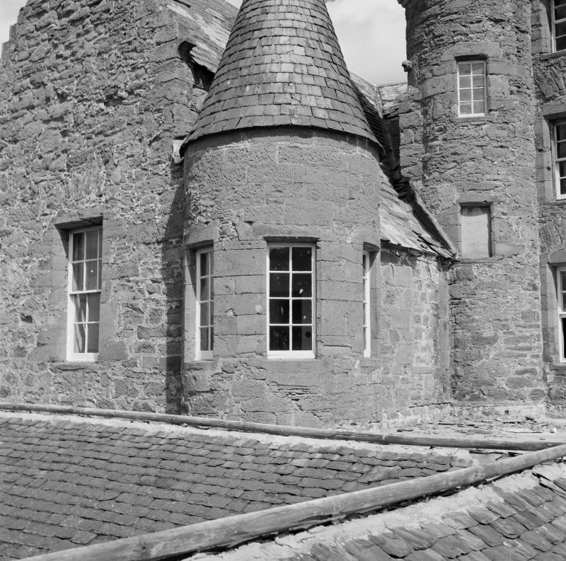 Detail of angle turret, Aldbar Castle.