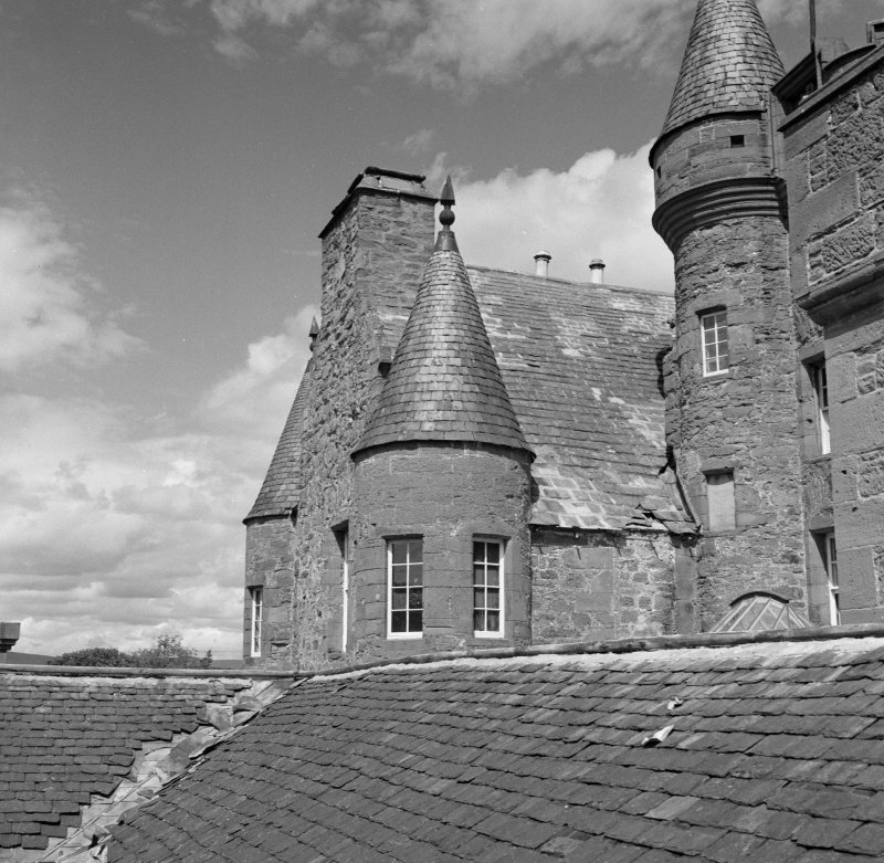 General view of roof and turrets, Aldbar Castle.