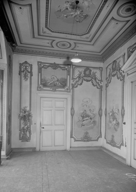 Interior view of Fordell House showing room with painted panels and ceiling at first floor centre front.