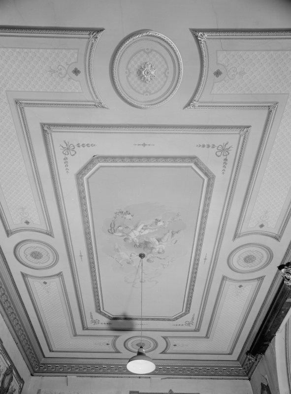 Interior view of Fordell House showing detail of painted ceiling in room at first floor centre front.