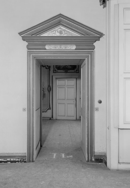 Interior view of Fordell House showing detail of door in drawing room on first floor.