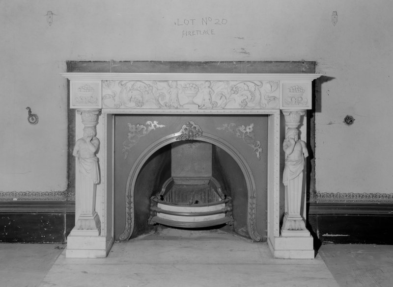Interior view of Fordell House showing detail of chimney piece in room adjoining the drawing room.