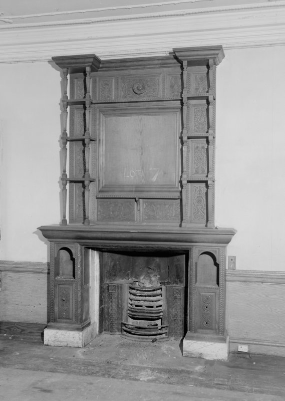 Interior view of Fordell House showing detail of chimney piece at ground floor front.