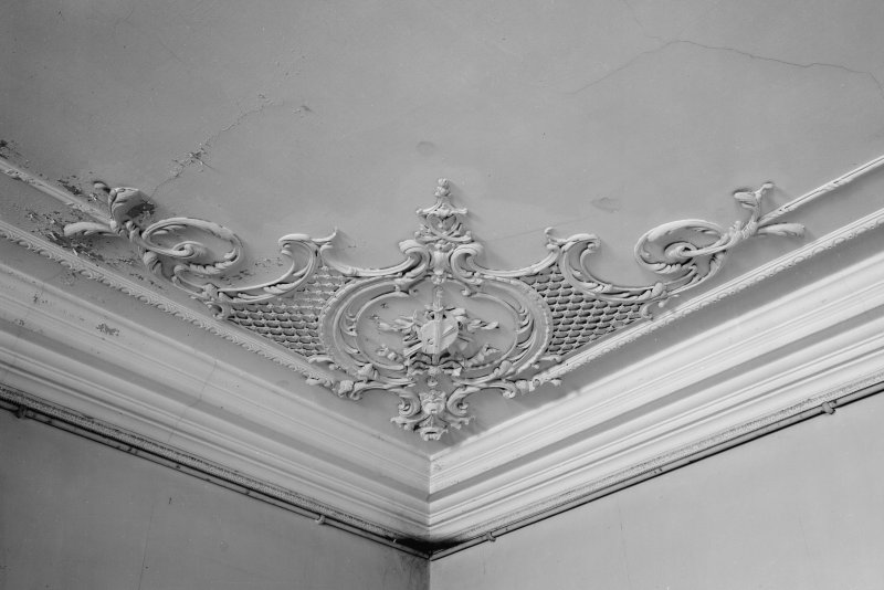 Interior view of Fordell House showing detail of ceiling at ground floor front.