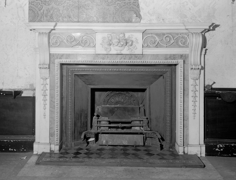 Interior view of Fordell House showing detail of chimney piece.