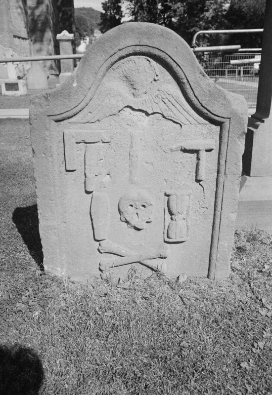 View of undated gravestone for the children of Thomas Clark, in  the burial ground of Dunkeld Cathedral.