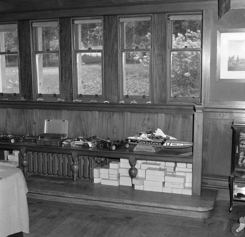 Billiard room, detail of windows and bench