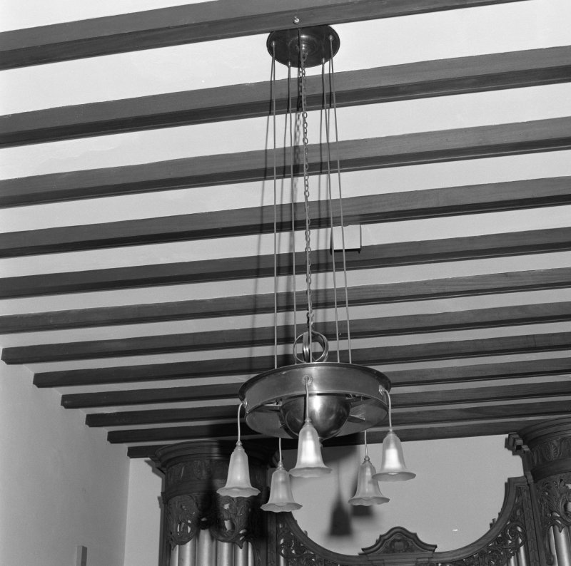 Music room, detail of ceiling and light fitting