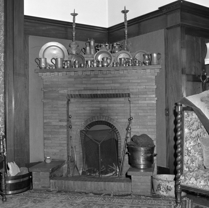 Music room, detail of fireplace