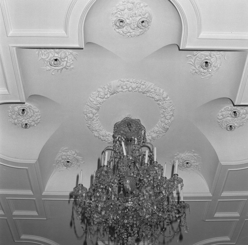 Drawing room, detail of ceiling and chandelier