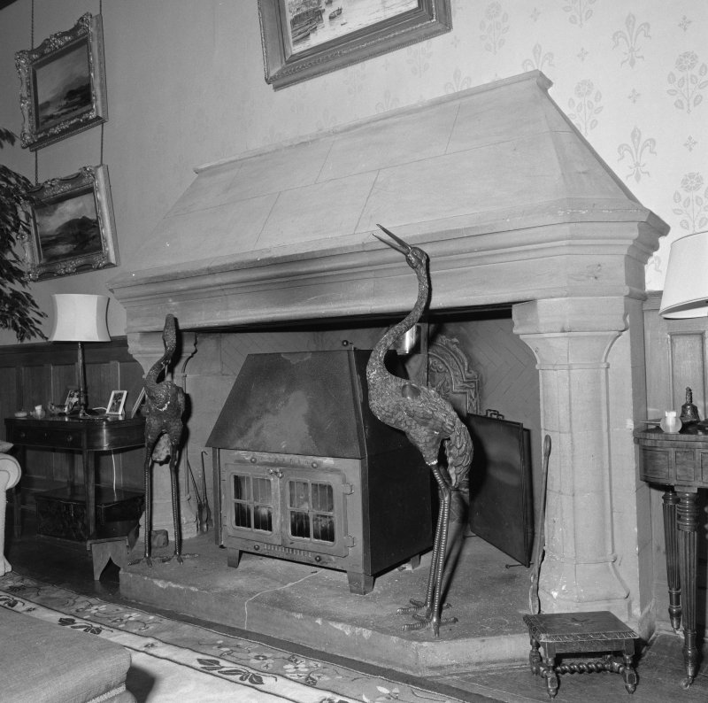 Hall, detail of fireplace
