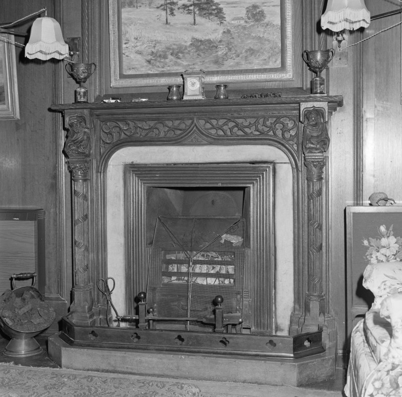 Library, detail of fireplace