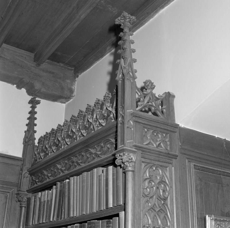Library, detail of bookcase gothic cornice