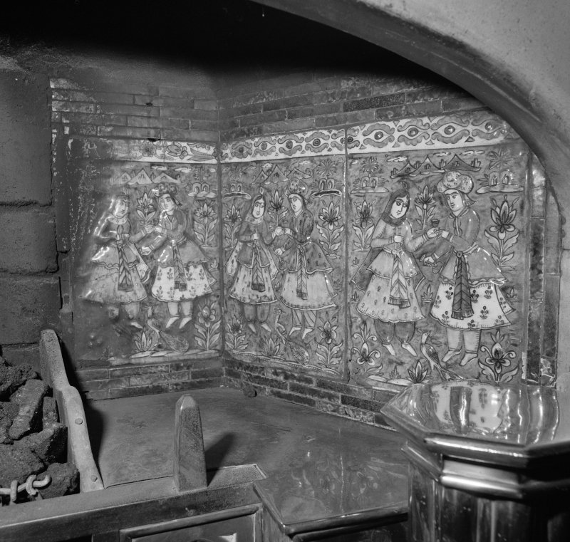 Dining room, detail of fireplace tiles