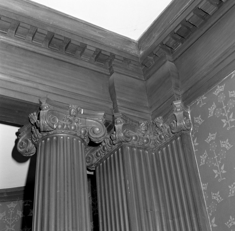 Dining room, detail of ionic columns and cornice