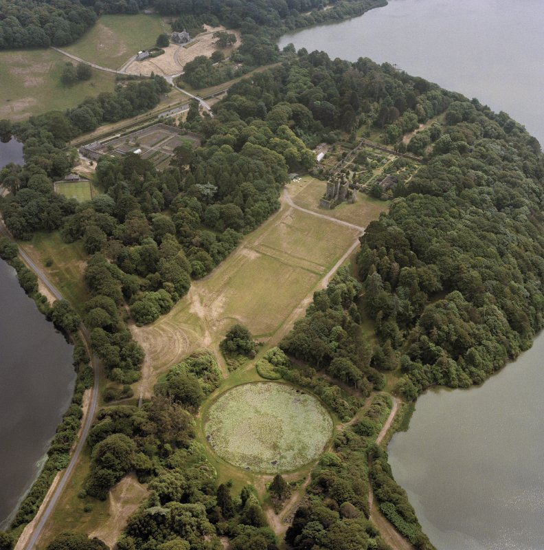 Oblique aerial view of Castle Kennedy, taken in 1992.