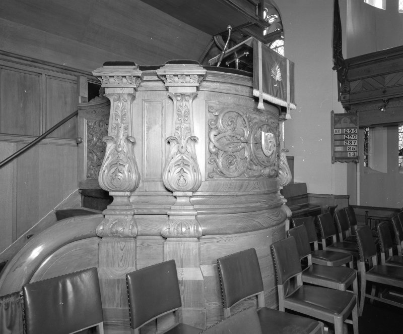 Interior.  Detail of pulpit.