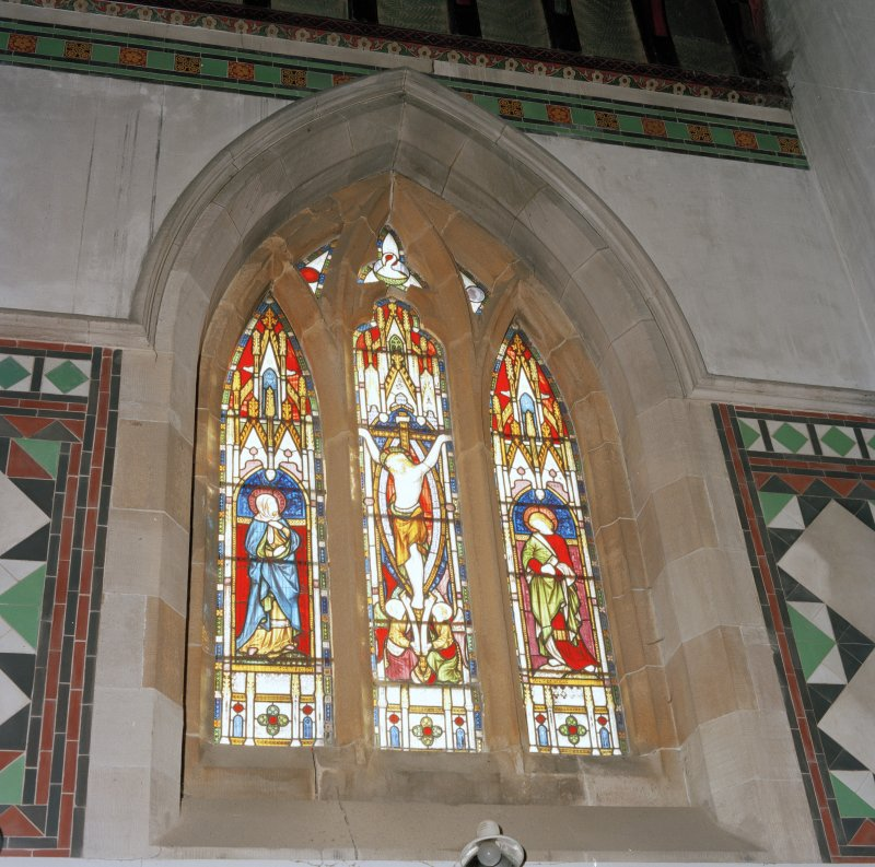 Interior.  Stained glass window.