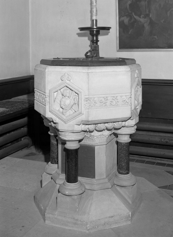 Interior.  Detail of font.