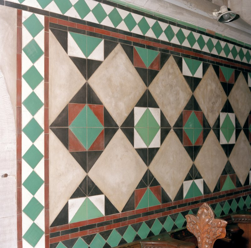 Interior.  Detail of wall tiles.