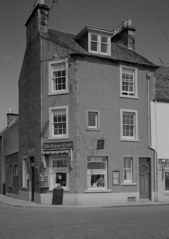 View 34 Cunzie Street and 9 Shore Street, Anstruther Easter, from SW, showing the Corner Cafe.