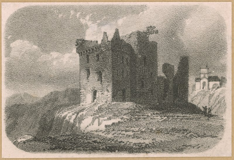 Engraving showing view of Crichton Castle.