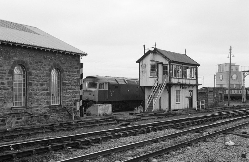 View of signal box and locomotive shed, Inverness Station.