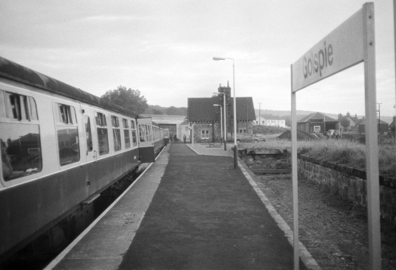 View of Golspie Station and platform.