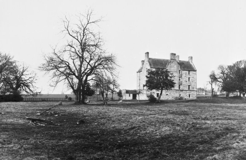 Pitreavie Castle. View of rear of castle prior to renovations and additions in 1885. Copy negative.
