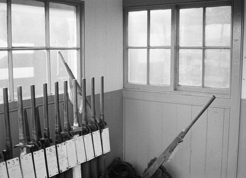 Interior view of north signal box, Georgemas Junction Staton, showing